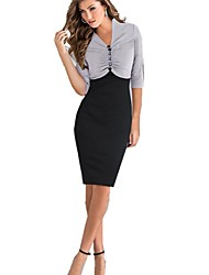 vestido de cuello v vintage, poliester de la rodilla-longitud de ½ longitud de la manga de las mujeres