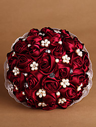 "Wedding Flowers Round Roses Bouquets Wedding Satin Red As Picture 7.87""(Approx.20cm)"
