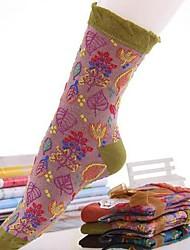 Retro meias de algodão criativo de 5pairs mulheres (cor aleatória de colocação)