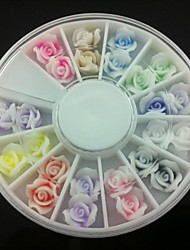 24PCS 3D Rose Fimo Nail Art Decoration