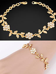 Cute Women's 18K Gold Platinum Plated Fancy Chain Bracelet Bangle Rhinestone Crystal for Women High Quality