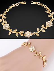 18k ouro, platina das mulheres bonitos banhado fantasia pulseira de cristal strass cadeia para as mulheres de alta qualidade