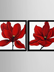 Floral/Botanical Framed Canvas / Framed Set Wall Art,PVC Black No Mat With Frame Wall Art