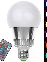 7W E26/E27 LED Globe Bulbs 1 High Power LED 350-400 lm RGB Remote-Controlled AC 85-265 V