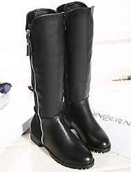Gumuding Women's Fashion Zipper Flat Heel  Knee High Boots