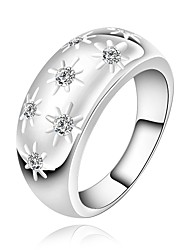 Fashion Flower Shape Silver Plated Copper Zircon Ring (Silver)(1Pc)