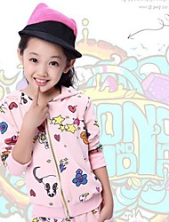 Girl'S Cartoon Printed Graffiti Hooded Track Suit