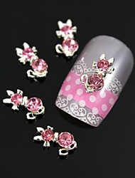 10pcs Pink Bow With Long Tail Nail Art Decoration