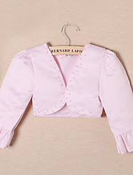 Kids' Wraps Coats/Jackets 3/4-Length Sleeve Satin White Wedding / Party/Evening Beading Open Front Yes