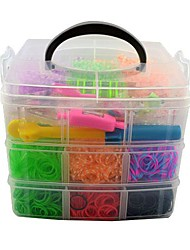 3500pcs Rainbow Color Loom Style Silicone Bands,100S-clips,1 Loom,3 Hook,1 Watch