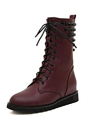 Women's Shoes Motorcycle Boots Round Toe Flat Heel Mid-Calf Boots with Lace-up and Zipper More Colors available