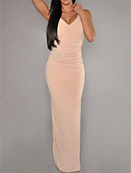 Women's Nude Cut-Out Backless Party Maxi Dress