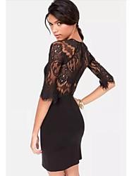 sexy moda vestido fino de renda das mulheres