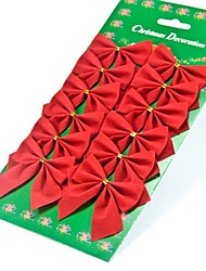 Flocking Little Red Bow Christmas Tree Decoration Accessories Mounted 12