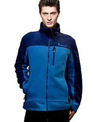 Quirell Men's Thermal Polyester Long Sleeve Fleece Jackets-Blue Green