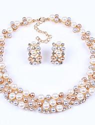 Women's Fashion Europe Imitation Pearl Rhinestone Jewelry Set(Including Necklaces Earrings)