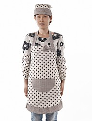 Brown Dot Pattern Cotton Fabric  Apron,Set of 3