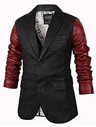 delgado contraste solapa color del manto de la PU de los hombres