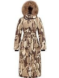 fourrure de raton laveur collier camouflage des femmes long et épais manteau de duvet