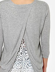 Women's Grey V Neck Long Sleeve Lace Split Sweater