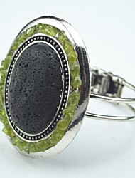 Toonykelly Vintage Antique Silver Oval Lava Rock Volcano Stone with Green Olive Bracelet(1 Pc)