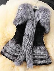 chaleco de piel de invierno abrigo de imitación de piel de zorro de las mujeres