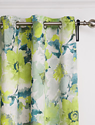TWOPAGES® Two Panels Contemporary Country Fresh Style Light Green Floral Curtains Drapes