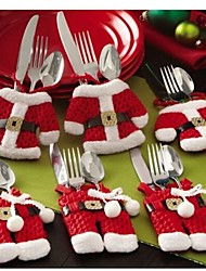 6 Pcs/Set Christmas Santa Silverware Holders Pockets Dinner Decor