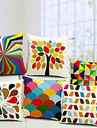 conjunto multicolor de algodão 6 / linho fronha decorativo