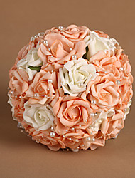 "Wedding Flowers Round Roses Bouquets Wedding Satin Blue Pink As Picture 8.66""(Approx.22cm)"