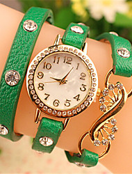 Sibyl Women's Casual Rhinestone Mental Circle Watch