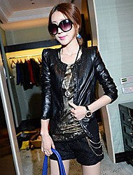 Women's Slim Round Collar Single Breasted Short Leather Coat(More Colors)