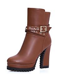 Zapatos de mujer - Tacón Robusto - Plataforma / Punta Redonda / Botas a la Moda - Botas - Oficina y Trabajo / Vestido - Semicuero -Negro