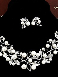 European Style Fashion Metal Rhinestone Pearl Foliage Personality and Temperament Earrings & Necklace Set
