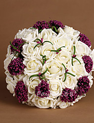 Pure Ivory Fabric Roses Wedding Bouquet