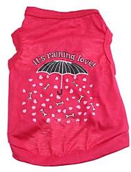 Chat Chien Tee-shirt Rouge Rose Vêtements pour Chien Printemps/Automne Dessin-Animé Cœur