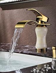 Ti-PVD Finish Jade Brass Waterfall Golden Bathroom Sink Faucet