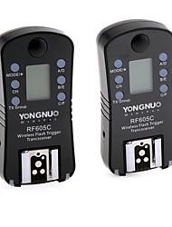 YONGNUO rf605c 2pcs grupo sem fio transceptor de disparo do flash para câmeras DSLR da Canon