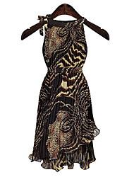 пункт женская Европейский леопард нерегулярные платье без рукавов