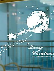 "Merry Christmas Santa Claus Riding Reindeer Window Sticker (27.6""W × 16.92""L)"