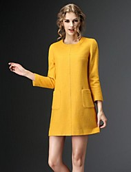 Women's Formal A Line Dress,Solid Crew Neck Above Knee ¾ Sleeve Gray / Yellow Wool / Polyester Spring / Fall