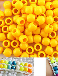 Approx 100PCS 8x9MM Light Yellow Pearlescent Pony Beads Rainbow Color Loom Bracelet DIY Accessories