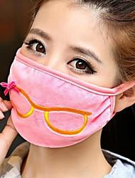 Women's Warm Spectacles Frame Crystal Velvet Face Masks(Random Color)