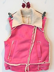 Girl's Plus Thick Velvet Lapel Vest Motorcycle Vest