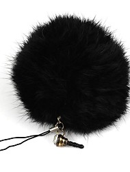 Rabbit Fur Ball Keychain/Phone Chain/Phone Dust Plug Black(1Pc)
