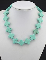 Toonykelly® Vintage Look Natural Real Flower Turquoise Stone Necklace(1 Pc)