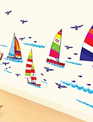 Wall Stickers Wall Decals, Sailing Boat Home Decor Bathroom PVC Wall Stickers