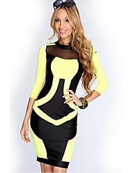 sexy rodada contraste malha pescoço cor bodycon vestido 3/4 luva das mulheres GGN