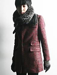 Men's Long Sleeve Regular Coat , Wool Blend Pure