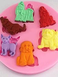 Dogs Animal Fondant Cake Chocolate Silicone Mold Cake Decoration Tools,L8.9cm*W8.9cm*H1cm